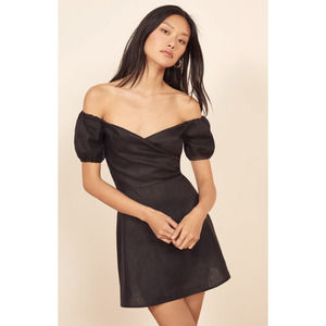 REFORMATION Off the Shoulder Minidress Black 2